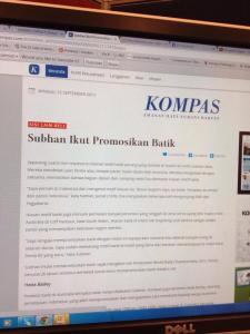 hedaBATIK article on leading Indonesian media, Kompas who recognized hedaBATIK works to spread batik in Australia.